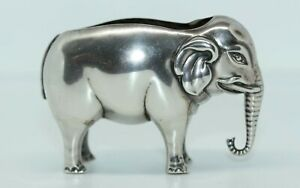 DELIGHTFUL ANTIQUE STERLING SILVER ELEPHANT PIN CUSHION 1906 no cushion
