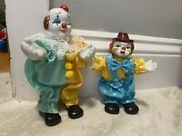 vintage clown doll Porcelain Head Lot Of 2 Small Posable Collectible Rare