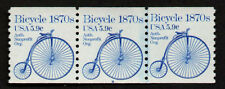 UNITED STATES, SCOTT # 1901, COIL STRIP OF 3 STAMPS PNC # 4, BICYCLE 1870s, MNH