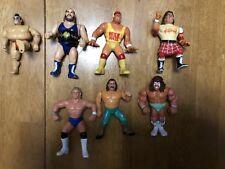 "WWF Lot Of 7 Vintage Titan Sport Hasbro Wrestlers Action Figures @ 5"""