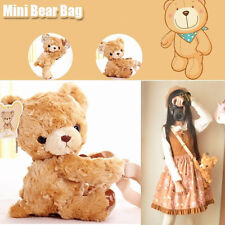 Kawaii Kid Girl's Cute Soft Mini Bear Plush Hugging Doll Toy Shoulder Bag Brown