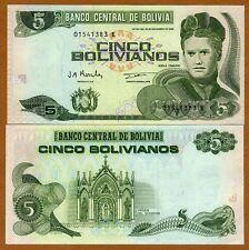 Bolivia, 5 Bolivianos, L. 1986 (1998) Pick 203c, Serie E, UNC