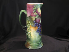 """Large Jpl Limoges Tankard - Hand Painted Grapes - 13 1/2"""" Tall"""