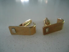 vintage retro art deco  mens cufflinks  gold with diamond baguette look crystal