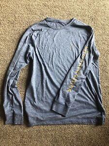 Vineyard Vines Long Sleeve Performance T Shirt Mens Small Blue with Yellow Logo