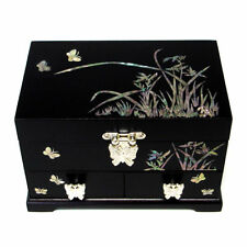 Mother of Pearl Black Lacquer Wood Jewellery Keepsake Trinket Treasure Box Chest