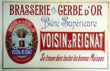 """""""BRASSERIE de la GERBE d'OR""""Affiche d'intérieur originale entoilée Litho 51x34cm"""