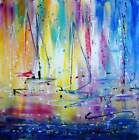 OCEAN SUNSET Hawaii Beach Abstract Boats Painting Colorful Rainbow Colors modern