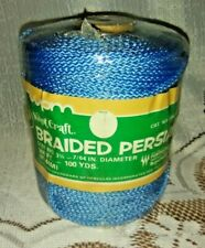 Vintage Knot Craft Braided Persian Macrame Cord. 3 1/2 mm, Blue, 100 yards