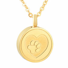 Gold Heart Paw Print Cremation Urn Stainless Steel Fashion Pendant Necklace