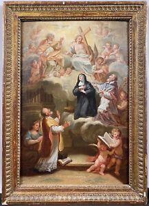 Original 18th C. Italian School Vision of Saint Catherine Religious Oil Painting