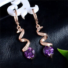 Cute New 18K Rose Gold Filled Amethyst Purple CZ Curl Dangle Drop Hoop Earrings