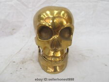 China Tibet Copper brass Buddhist ritual utensils Skull Heads Art Statue
