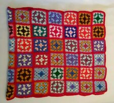 Vintage Handmade Granny Square Afghan Crochet Knit Lap Blanket Throw Toddler Bed