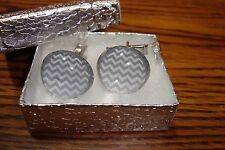 Acrylic Dome Cuff links 1 Pair (Two) Silver Plated - Gray & Silver Color Waves