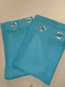 """Pair of Teal Color Voile Curtains - Ring Top - 54""""w x 90""""d - Great Condition"""