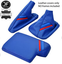 En cuir bleu m rayures gear frein à main accoudoir couverture pour bmw E90 E91 E92 E93