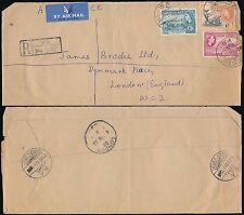 GOLD COAST WA REGISTERED HANDSTAMP AIRMAIL to GB 1955