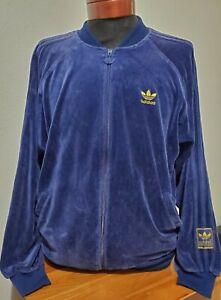 Vintage Adidas Velour Track Jacket Men's Medium Trefoil Blue 90 Full Zip
