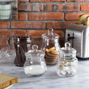 Decorative Set of 4 Mixed Shape Clear Glass Apothecary Storage Jars w/ Lids