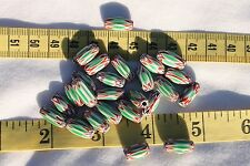 7x10mm 6 Layer Chevron Craft Glass Oval Beads Red,Green,White,Black  /25 beads