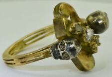 Victorian Memento Mori Skulls 18k gold & Rose cut Diamonds ladies ring c1890's