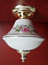 Finial White Glass w Painted Flowers, Pendant Light Fixture Lamp Repair Part