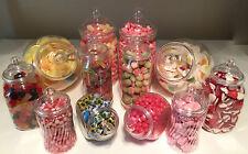 12 RETRO Plastic Sweet Jars DIY Sweet Shop Candy Buffet Wedding Christening