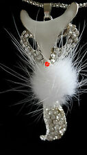 CLEAR RHINESTONE FOX NECKLACE WITH WHITE FUR