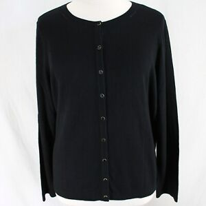 Talbots Cardigan Sweater Womens Sz 3X Solid Black Long Sleeve Button Front NEW