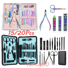 15/20Pcs Nail Cuticle Pusher Nipper Clipper Tweezers Manicure Pedicure Tools Kit