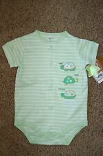 NWT Infant Carter's Embroidered Turtles Short Sleeve Creeper Bodysuit Size 9M FS