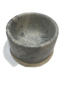 VINTAGE ART DECO Blue Marbled With White  LAVA BAKELITE Deep VASE Bowl Dish
