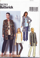 BUTTERICK SEWING PATTERN 6293 MISSES 16-24 TOP, JACKET/COAT & PANTS, PLUS SIZES