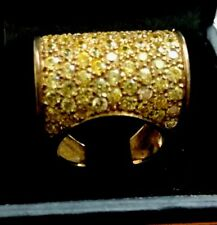 Pave Rolled Canary CZ RING GOLD OVER SILVER 7