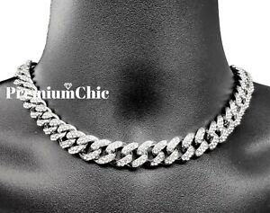 """16"""" Miami Cuban Choker Chain Necklace Hip Hop Mens Silver Plated Iced Jewelry"""
