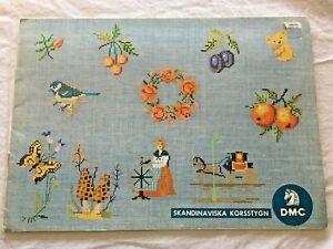 Vtg Skandinaviska DMC Cross Stitch Pattern Book Christmas Easter Mushroom Flower