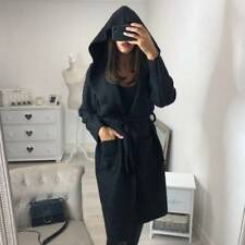 Ladies Women Plain Fluffy Hooded Long Cardigan Coat Winter Belt Trench Jacket UK