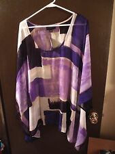 NWT - Lane Bryant - Blouse - 22 / 24 - Sheer / Purples / White