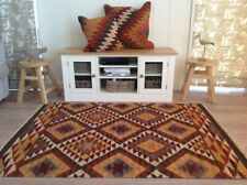 Alwar Brown Orange Cream Geometric Diamond WooI Kilim Small Large Runner Rug