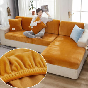 Velvet Sofa Seat Cushion Cover Thick Solid Soft Stretch Sofa Plush Slipcovers