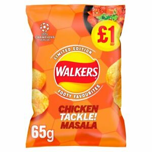 Walkers Chicken TACKLE Masala Flavour - Footy Favourites -15 x 65g - NEW