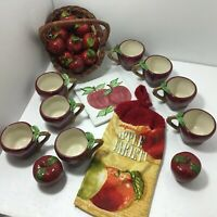 Red Apple Items: Trivet S & P Shakers Hand Towel Shaped Mugs, Basket, Ornaments