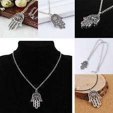 Nuevo Cadena Collar Colgantes Diseño Suerte Mano De Hamsa Mujer Hombre