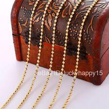 "Bulk Wholesale Lots 5pc 2mm Gold Filled Women Men Beads Ball  Chain Necklace 18"""