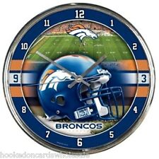 Denver Broncos NFL Round Chrome Wall Clock