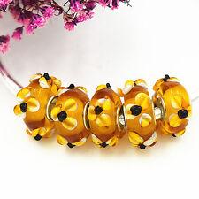 5pcs MURANO Lampwork charm Beads fit 925 silver European Bracelet Chain a922