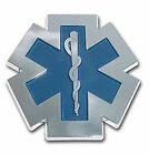 EMS FIRE BLUE CHROME USA MADE EMBLEM ADHESIVE MEDALLION