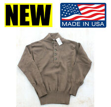 US MILITARY WOOL Acrylic JEEP 5 BUTTON brown SWEATER GI army marine dscp medium