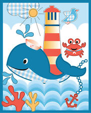 "Whale's Adventure animal ocean crab bird blue 100% cotton fabric panel 35"" X 43"""